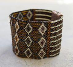 Burnt Orange Copper Beaded Cuff Bracelet