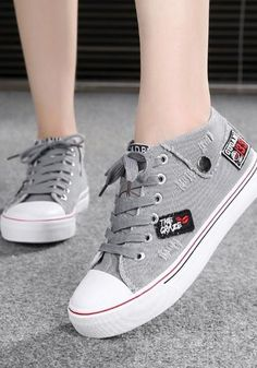 Grey Round Toe Flat Embroidery Appliques Lace-up Casual Canvas Shoes,Grey Round Toe Flat Embroidery Appliques Lace-up Casual Canvas Shoes Shoes Heels Heeled shoes will always be challenging for us women. Hype Shoes, Women's Shoes, Shoe Boots, Shoes Sneakers, Flat Shoes, Sneakers Mode, Sneakers Fashion, Fashion Shoes, Korean Shoes