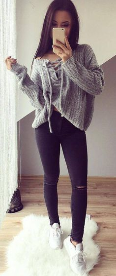 #cute #outfits Grey Bow Sweater // Ripped Skinny Jeans // White Sneakers