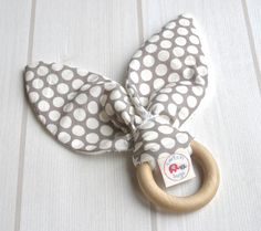 Natural Wooden Teething Ring Soother ORGANIC Dottie Cream Shroom Grey & Unbleached Bamboo Terry....an eco friendly gift idea from Cwtch Bugs...