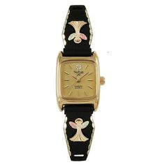 Ladies Black Hills Gold Antiqued Watch with Angels
