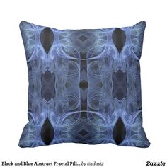 Black and Blue Abstract Fractal Pillow