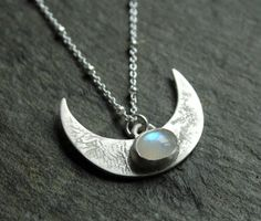 Lunar rising necklace sterling silver and Moonstone by Dreamspell ☻. ☺  ☺  ☂