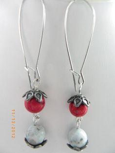 Red white black gemstone fashion beads handmade earrings, free shipping $8.99