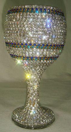 NEW-Custom Designed Handmade Wine Glass With Multicolor Rhinestones