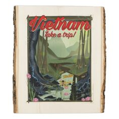 #Vietnam Cave cartoon travel poster Wood Panel - #travel #trip #journey #tour #voyage #vacationtrip #vaction #traveling #travelling #gifts #giftideas #idea