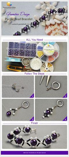 DIY geometric design purple pearl bracelet with Pandahall Elite pearl beads
