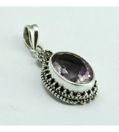 Misty Morning !! Bezel Setting Purple Amethyst 925 Sterling Silver Pendant, Weight: 5.5 g, Stone - Amethyst, Size - 3.5 x 1.5 cm, Wholesale Orders Acceptable, All Pieces have 925 Stamp