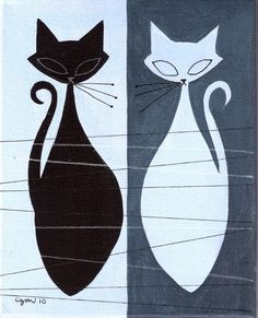 Cats - El Gato Gomez Art. Pair of black and white kitties