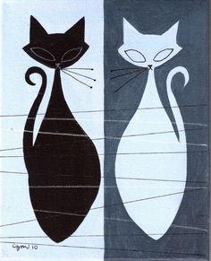 Cats - El Gato Gomez Art. Pair of black and white kitties