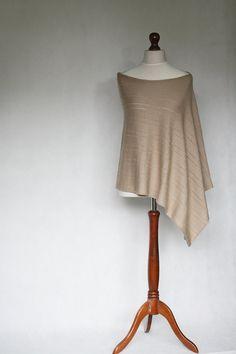Knit poncho beige poncho beige scarf beige by KnitwearFactory **Gorgeous + spring perfect #spring #poncho #knitwear
