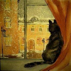 О чём он думает, устроившись удобно? Что видит он в заброшенном дворе, Разглядывая долго и подробно Чужой подъезд и снег на фон...