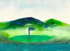 Watercolor on Arches 140 Lb rough paper. Golf Painting, Golf Green, Golf Art, Bright Paintings, 50th Wedding Anniversary, Watercolours, Watercolor Print, Boy Room, Painting Inspiration
