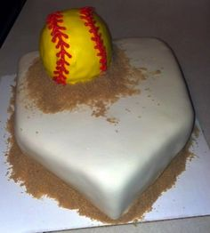 Softball Cake... Change SB to a Baseball... Cameron's birthday Cake.