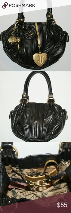Juicy Couture leather bag Juicy Couture sturdy  leather bag, in great condition, has all it's Juicy charms, including vanity mirror, clean inside and out. Dimensions are length 11 inches, depth 8 inches, width 3.5 inches. Made to be a classic Juicy Juicy Couture Bags Shoulder Bags