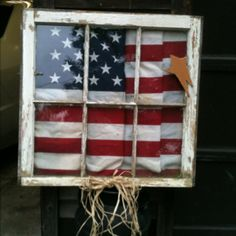 Window frame with American flag