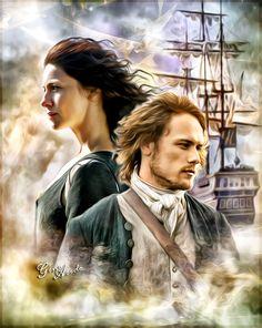 Jamie Fraser and Claire Fraser #Outlander #Voyager #season3 @samheughan…