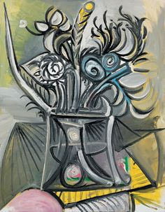 Pablo Picasso, Vase and Flowers on  Table,1969