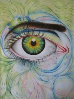 Eye Eye Eye Green Blue Pink Eyebrow Pupil Iris Yeah Lovely Art Drawing Aqua Watercolor Pencil Tear Crying #Sick.