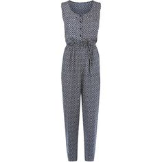 Brave Soul Blue Tile Print Jumpsuit (£11) ❤ liked on Polyvore featuring jumpsuits, blue pattern, sleeveless jumpsuit, blue jump suit, patterned jumpsuit, blue jumpsuit and print jumpsuit