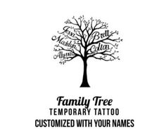 custom family tree with names temporary tattoo - personalized with your names