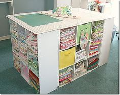 4 cube storage units secured together with brackets.my future quilting room cutting table/fabric storer. Sewing Room Organization, Craft Room Storage, Fabric Storage, Table Storage, Craft Rooms, Fabric Boxes, Fabric Basket, Bobbin Storage, Organizing Crafts