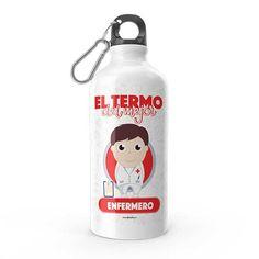Termo - El termo del mejor enfermero, encuentra este producto en nuestra tienda online y personalízalo con un nombre. Water Bottle, Drinks, Carton Box, Bottles, Store, Crates, Drinking, Beverages, Water Bottles