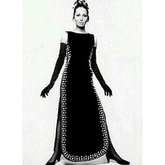 1967 - Balenciaga black embroidered dress