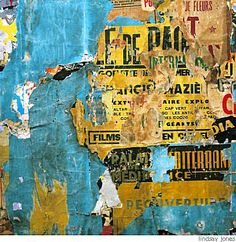 decollage sheets of paper glued on top of one another; sanded away to reveal bottom layer; bold colour and black; bold solid colour dd
