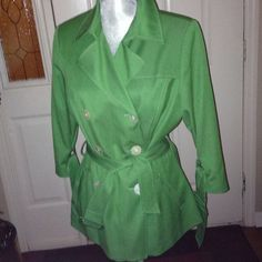 Double Breast Jacket Light weight with iridescent white button details- palm tree green sharagano Jackets & Coats