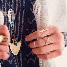 Ija Large Arrowhead with Stone Necklace