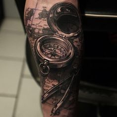 Realistic compass and map tattoo - 100 Awesome Compass Tattoo Designs <3 <3
