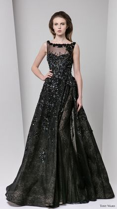 tony ward fall 2016 rtw sleeveless sweetheart illusion bateau neck a line evening dress black