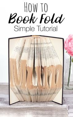 How to Book Fold - Simple book folding tutorial, learn how to make book words for diy gifts and handmade home decor. This book art craft is surprisingly easy and will only take a few hours! Book Page Crafts, Book Page Art, Recycled Books, Recycled Clothing, Recycled Fashion, Book Works, Folded Book Art, Book Sculpture, Paper Sculptures