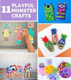 11 Cute and Playful Monster Crafts Kids Will Love. Fun Halloween craft ideas!