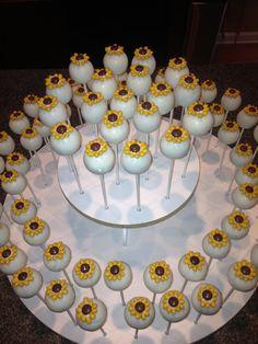 Sunflower cake pops by www.cakepopsbyjen.net