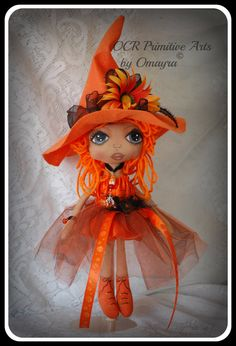 CLEMENTINE Ooak collectible Art Witch Doll by OCRPrimitiveArts, $100.00