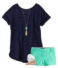 Crew, kendra scott and jack rogers cute summer outfits, preppy summer sty Adrette Outfits, Outfits Mujer, Preppy Outfits, Short Outfits, Fashion Outfits, Womens Fashion, Preppy Casual, Colored Shorts Outfits, Preppy Fashion