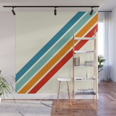 Alator - Classic Retro Summer Stripes Wall Mural by alphaomega Striped Accent Walls, Stripes On Walls, Striped Painted Walls, Paint Stripes, Gym Decor, Wall Decor, Geometric Wall Paint, Accent Wall Bedroom, Room Paint