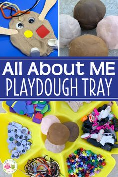 This fun playdough tray is perfect for your all about me theme. Use these ideas during the first week of school or any time of year. Your - Education and lifestyle All About Me Eyfs, All About Me Crafts, All About Me Art, Eyfs Activities, Nursery Activities, Playdough Activities, Toddler Activities, Learning Activities, Preschool Family Theme