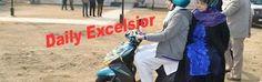 Chief Minister Mehbooba Mufti taking scooty ride at  Khanabal Dagbaglow Anantnag on sundayExcelsior\Sajad Dar