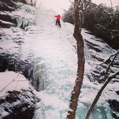 """Last pitch of ADK trip, """"Crystal Ice Tower""""    #iceclimbing #ice"""