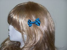 Blue and Black Animal Print Hair Bows Cute and by HairBowAplenty
