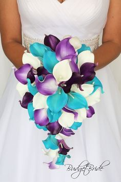 Calla Lily Real Touch Wedding bouquet in cascading teardrop bouquet in all calla lilies in turquoise and purple
