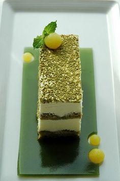 green tea tiramisu. matcha simple syrup, matcha ladyfingers, green tea jelly and citrus spheres... sweeet