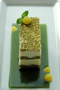 green tea tiramisu. matcha simple syrup, matcha ladyfingers, green tea jelly and citrus spheres... sweeet