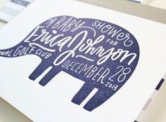 Elephant Hand Lettered Baby Shower Invitation | Moglea