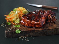 Ribbe med asiatisk glaze Pork Belly, Lemon Grass, Asian Recipes, Food To Make, Nom Nom, Steak, Glazed Pork, Happiness, God