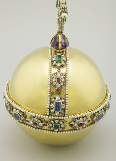 The Sovereign's Orb | Royal Collection Trust. 1661. Gold, sapphires, rubies, emeralds, amethyst, diamonds, pearls, enamel.   Acquirer:   Charles II, King of Great Britain (1630-85)