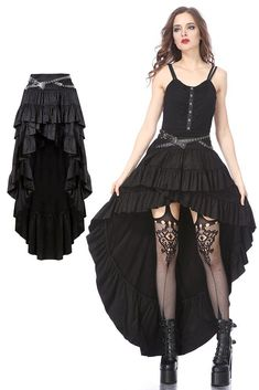 Punk rivet high-low skirt More shades of brook shields Dark Fashion, Fashion Wear, Gothic Fashion, Fashion Outfits, Woman Outfits, Skirt Fashion, Punk Outfits, Gothic Outfits, Club Outfits